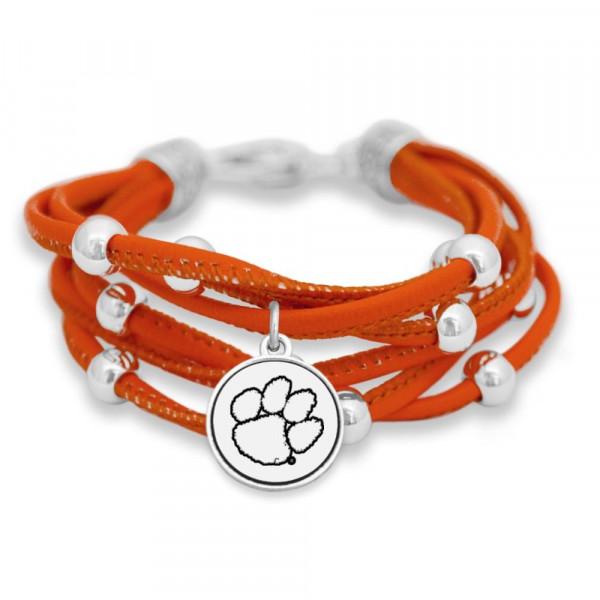 Officially licensed collegiate faux leather cord bracelet with university logo.