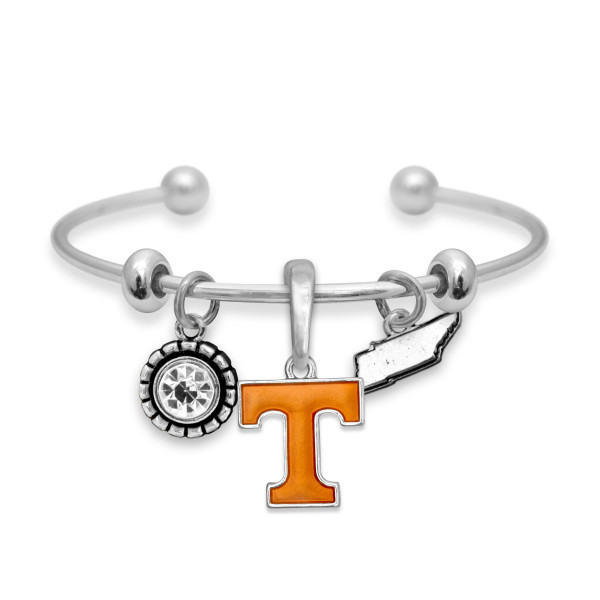 Officially licensed cuff bracelet with university logo.
