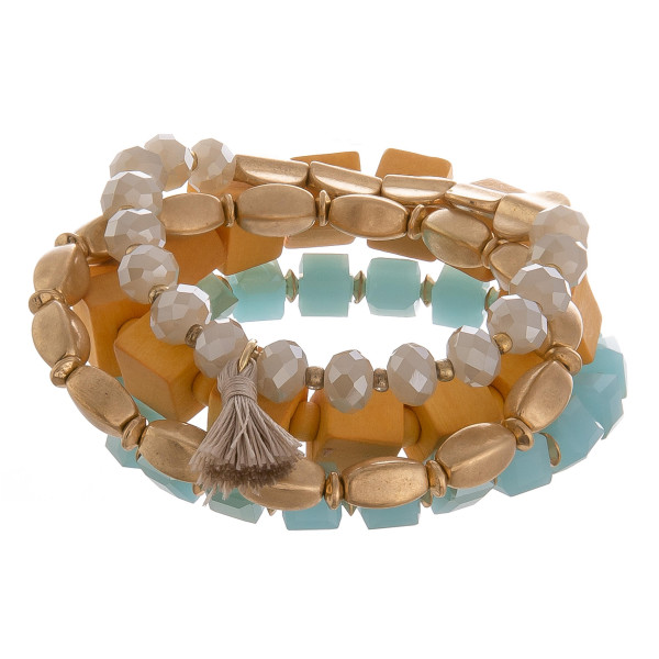 Wholesale multi layered bracelet natural stone wood bead detail Approximate