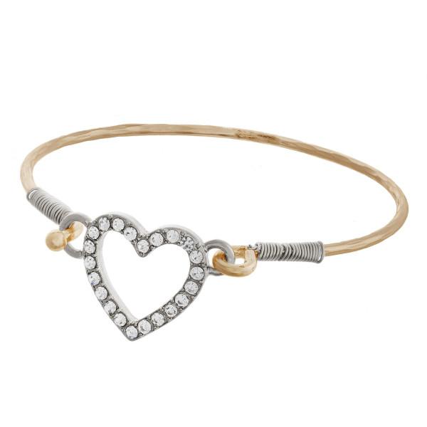 Wholesale metal cuff bracelet rhinestones heart pendant diameter