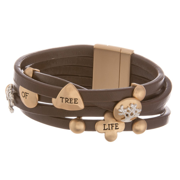 """Leather bracelet with inspirational message """" Tree of life."""" Approximate 8"""" in length."""