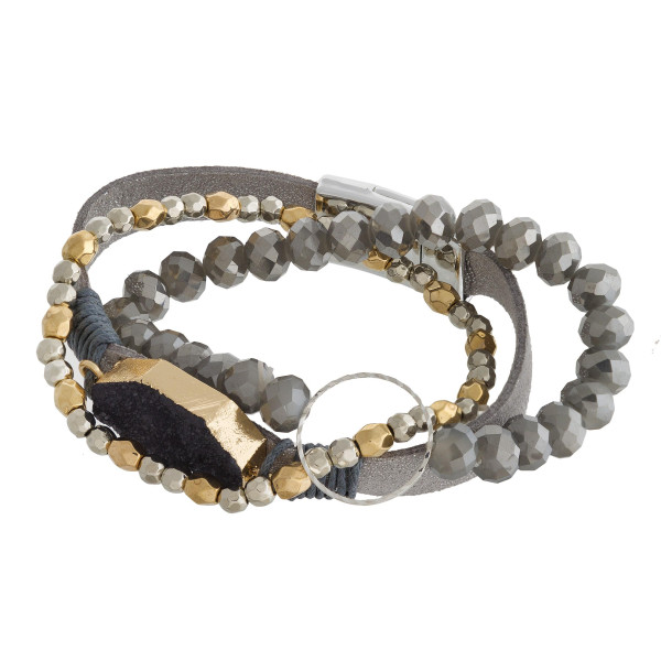 Wholesale multi strand natural stone beaded bracelet metal hoop wrist detail App
