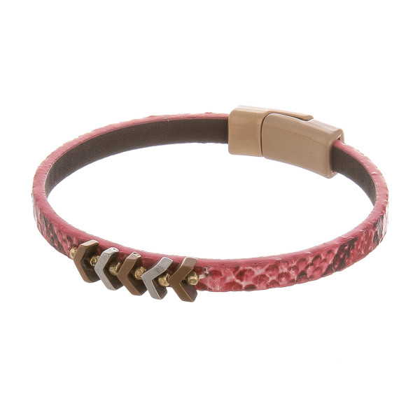 """Magnetic animal skin detail  leather bracelet with arrows. Approximate 8"""" in length."""