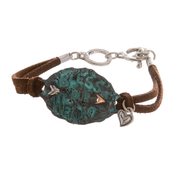 """Leather bracelet with inspirational engraving. Approximate 6"""" in length."""