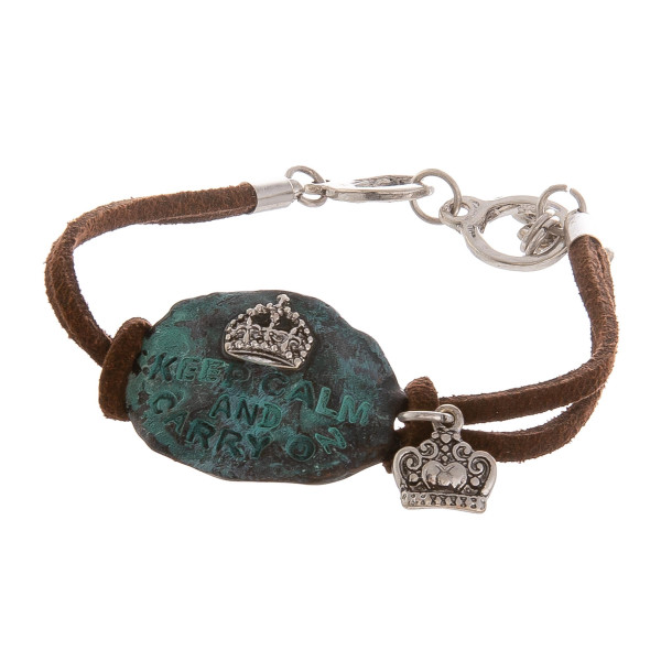 "Leather bracelet with inspirational engraving. Approximate 6"" in length."