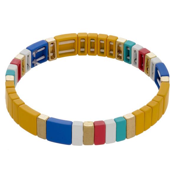 Wholesale color block stretch bracelet diameter unstretched Fits up wrist