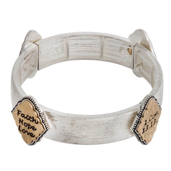 """Metal stretch bracelet featuring """"Faith Hope Love"""" engraved focal accents. Approximately 2.5"""" in diameter unstetched. Fits up to a 5"""" wrist."""