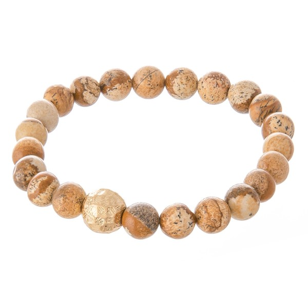 """Jasper inspired beaded stretch bracelet with a gold accent. Approximately 3"""" in diameter unstretched. Fits up to a 6"""" wrist."""
