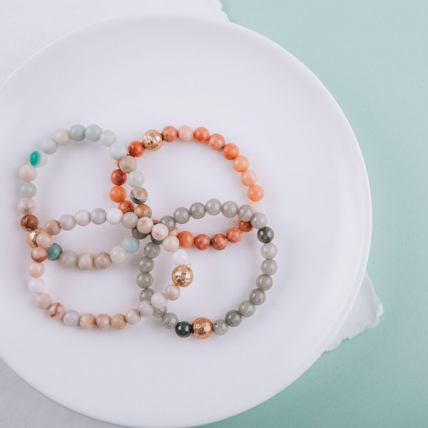 """Semi Precious Beaded Stretch Bracelet Featuring CCB Detail.  - Approximately 3"""" in diameter  - Fits up to a 7"""" wrist"""