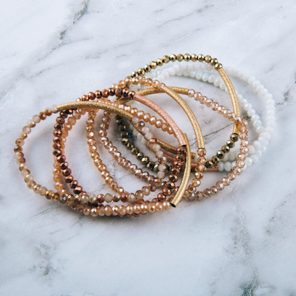"Dainty Beaded Stretch Bracelet Featuring Gold Tube Focal.  - Approximately 3"" in diameter - Fits up to a 7"" wrist"