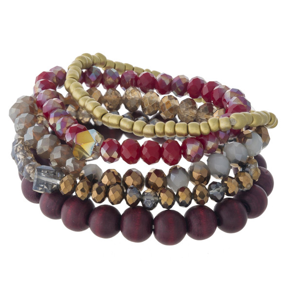 Wholesale beaded stretch bracelet set wood faceted gold plastic bead details dia