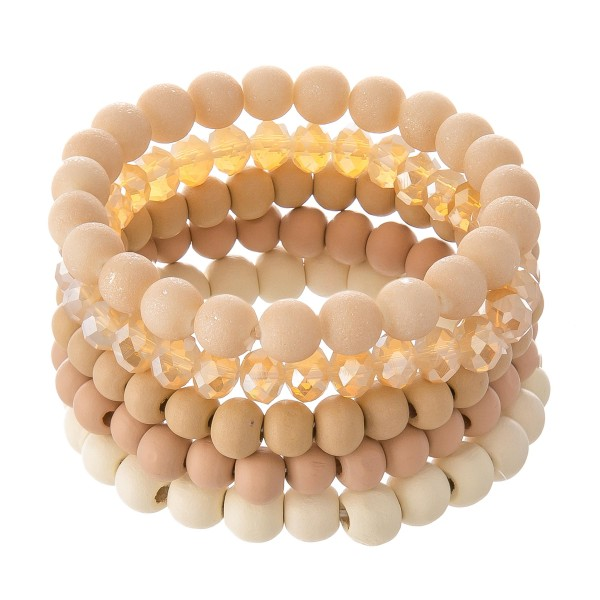 Wholesale wood Beaded Stackable Stretch Bracelet Set Acrylic Faceted Beads pcs p