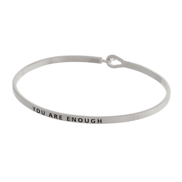Wholesale dainty metal bracelet Enough engraved message hook closure diameter Fi