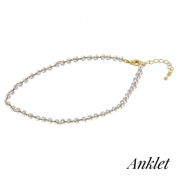 """Beaded anklet featuring faceted bead details. Approximately 4"""" in diameter. Fits up to an 8"""" ankle."""