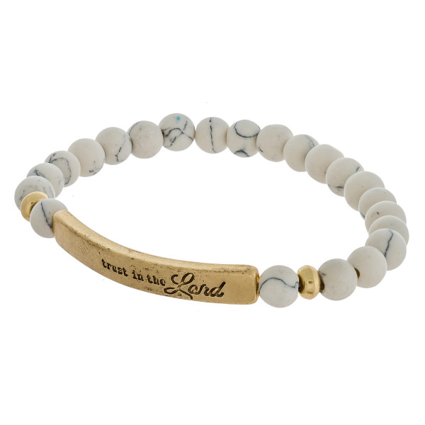 "Inspirational Semi Precious Beaded Stretch Bracelet.  ""Trust in the Lord""   - Approximately 3"" in Diameter"