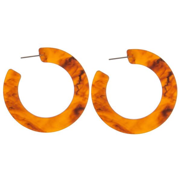 """Marble resin open hoop earrings.   - Approximately 2"""" in diameter"""
