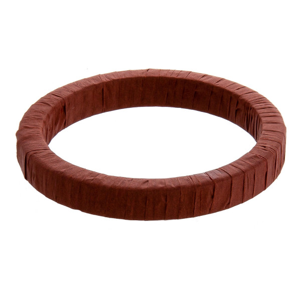 "Wood inspired bangle bracelet featuring raffia wrapped details. Approximately 3"" in diameter. Fits up to a 6"" wrist."