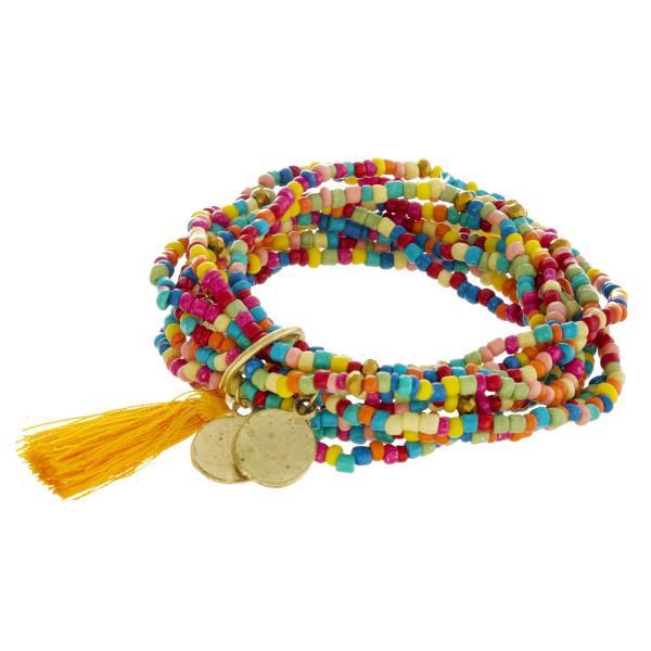 "Multi Seed Beaded Charm Tassel Stackable Stretch Bracelet Set.  - Approximately 3"" in Diameter"