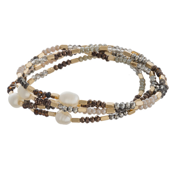 Wholesale faceted beaded stretch bracelet set gold pearl bead accents diameter u