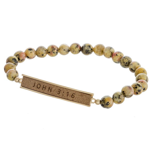 "Natural stone beaded stretch bracelet featuring a faux leather focal with ""John 3:16"" engraved details. Approximately 3"" in diameter unstretched. Fits up to a 6"" wrist."