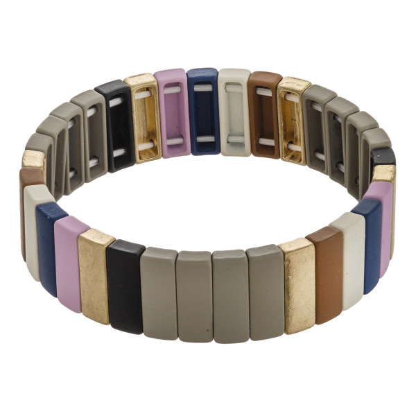 """Multicolor pinstripe color block stretch bracelet. Approximately 3"""" in diameter unstretched. Fits up to a 6"""" wrist."""