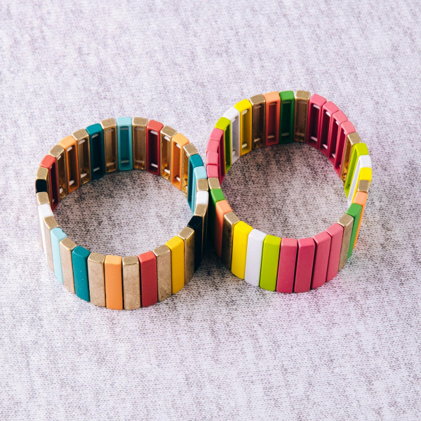 """Multicolor color block pinstripe stretch bracelet. Approximately 3"""" in diameter unstretched. Fits up to a 6"""" wrist."""