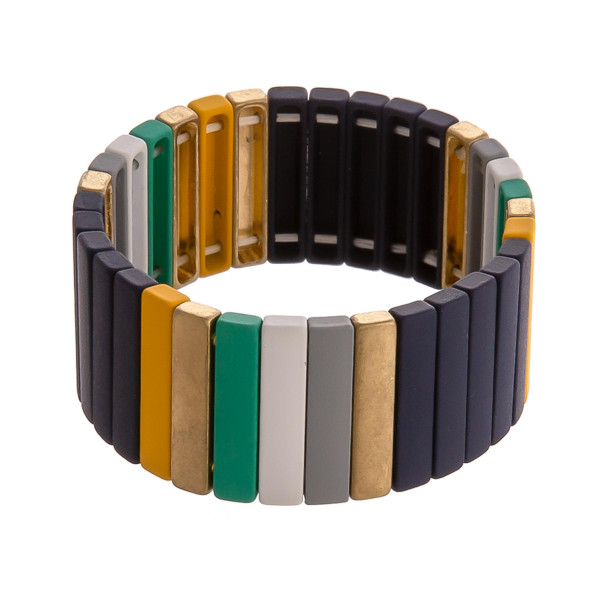 "Multicolor color block pinstripe stretch bracelet. Approximately 3"" in diameter unstretched. Fits up to a 6"" wrist."