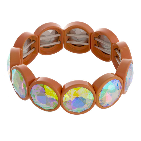 """Chunky iridescent rhinestone stretch bracelet. Approximately 3"""" in diameter unstretched. Fits up to a 6"""" wrist."""