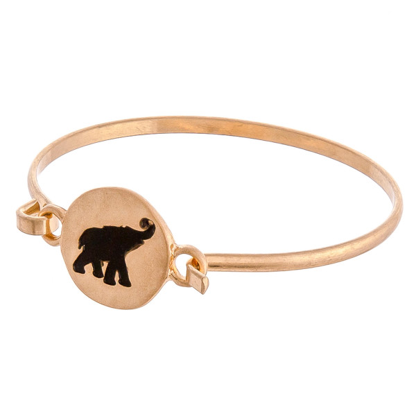 """Elephant engraved bangle bracelet. Approximately 3"""" in diameter. Fits up to a 6"""" wrist."""