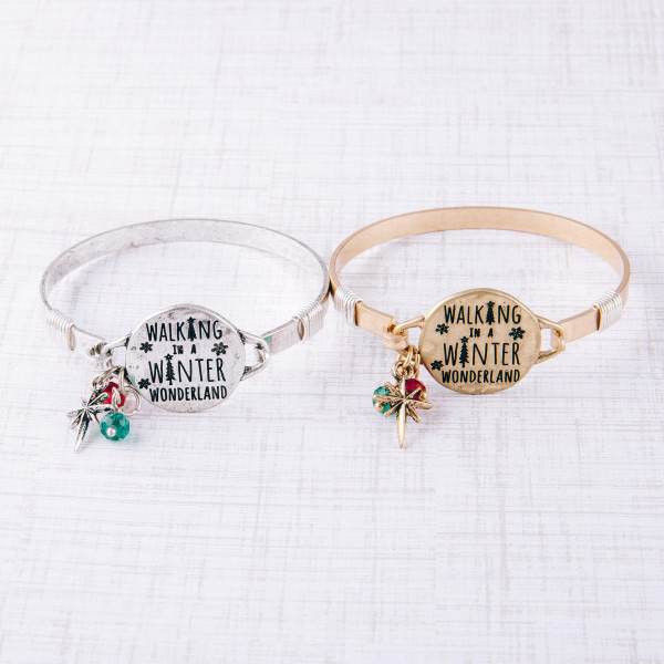 """Walking in Winter Wonderland"" engraved bangle charm bracelet. Approximately 2.5"" in diameter. Fits up to a 5"" wrist."