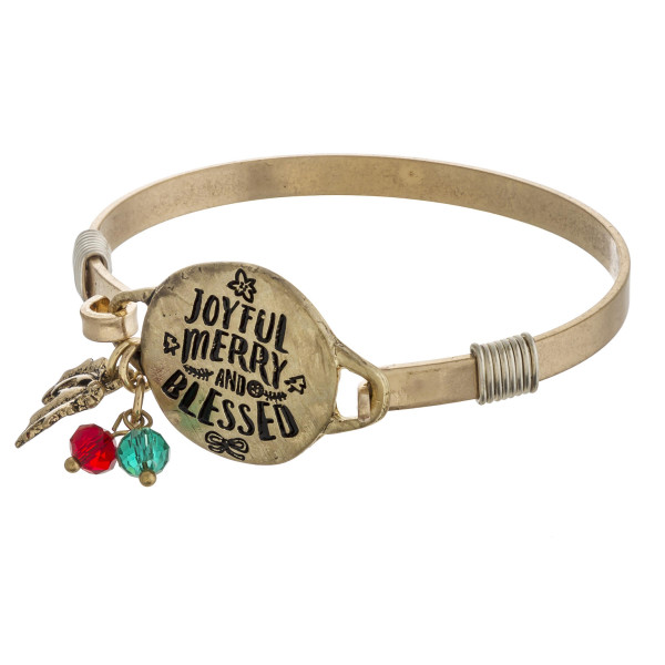 """Joyful Merry & Blessed"" engraved bangle charm bracelet. Approximately 2.5"" in diameter. Fits up to a 5"" wrist."