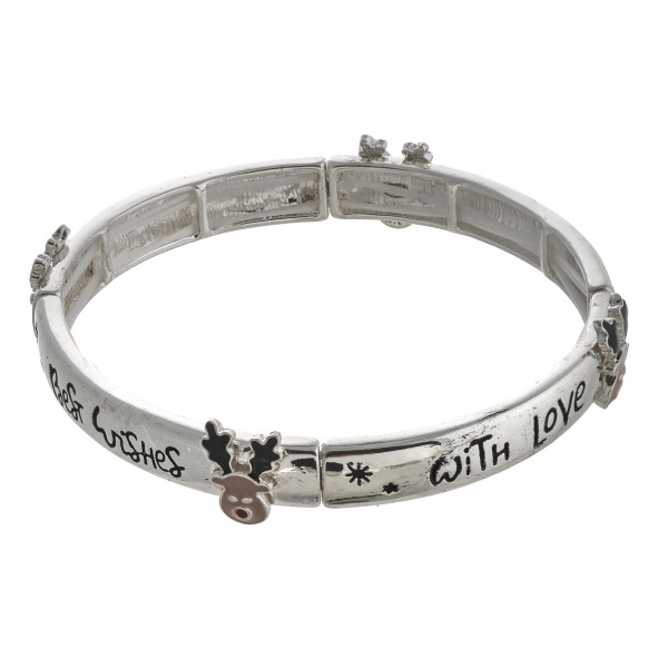 """Best Wishes"" engraved stretch bracelet featuring an enamel coated accent. Approximately 2.5"" in diameter unstretched. Fits up to a 5"" wrist."