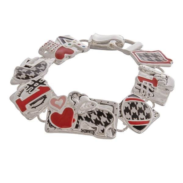 "Enamel coated houndstooth football game day metal bracelet with magnetic hook closure.  - Approximately 3"" in diameter  - Fits up to a 6"" wrist"