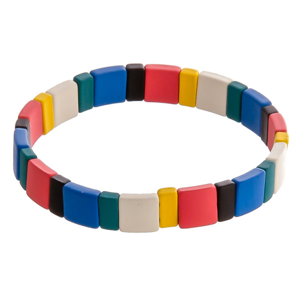 "Multicolor color block beaded stretch bracelet. Approximately 3"" in diameter unstretched. Fits up to a 6"" wrist."