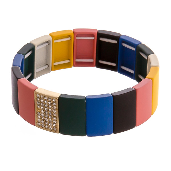 "Color block beaded stretch bracelet with rhinestone accents. Approximately 3"" in diameter unstretched. Fits up to a 6"" wrist."