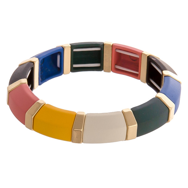 "Chunky color block beaded stretch bracelet. Approximately 3"" in diameter. Fits up to a 6"" wrist."