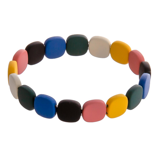 "Gumdrop color block beaded stretch bracelet. Approximately 3"" in diameter unstretched. Fits up to a 6"" wrist."