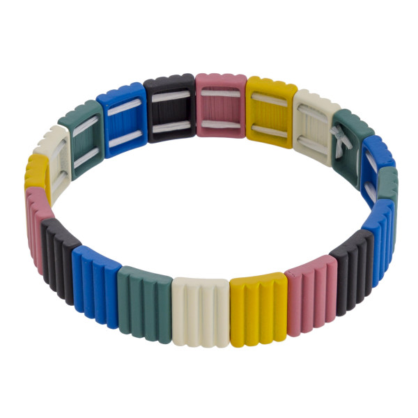 "Multicolor ribbed textured color block stretch bracelet. Approximately 3"" in diameter unstretched. Fits up to a 6"" wrist."