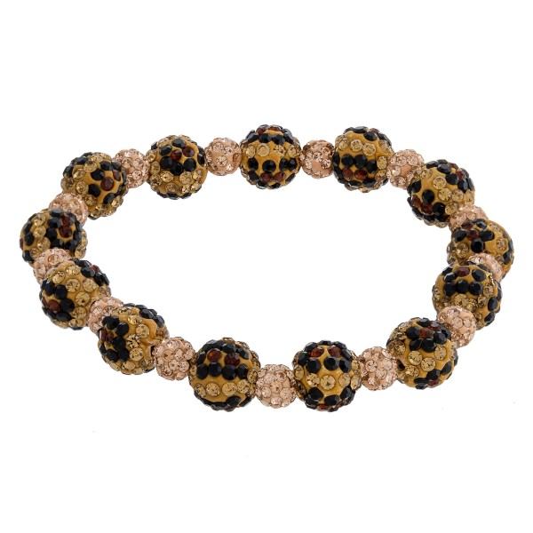 "Leopard print rhinestone studded beaded stretch bracelet. Approximately 3"" in diameter unstretched. Fits up to a 6"" wrist."
