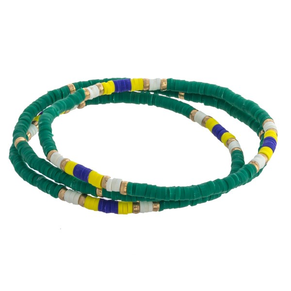 """Dainty Polymer Clay spacer disc beaded stretch bracelet set.  - 3pcs/set - Approximately 3"""" in diameter unstretched - Fits up to a 7"""" wrist"""