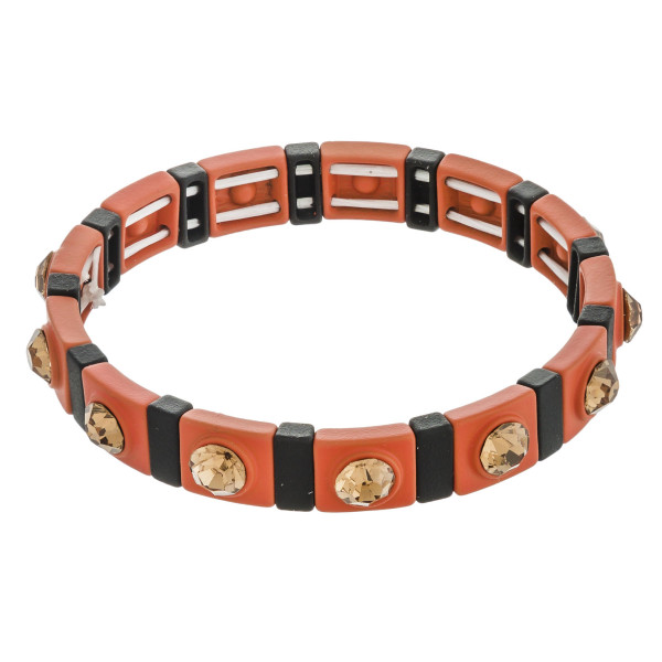 """Two tone rhinestone color stretch bracelet.   - Approximately 3"""" in diameter unstretched  - Fits up to a 6"""" wrist"""