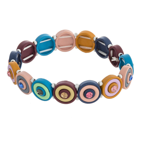 """Multicolor rhinestone encased bulls eye beaded stretch bracelet. Approximately 3"""" in diameter unstretched. Fits up to a 6"""" wrist."""