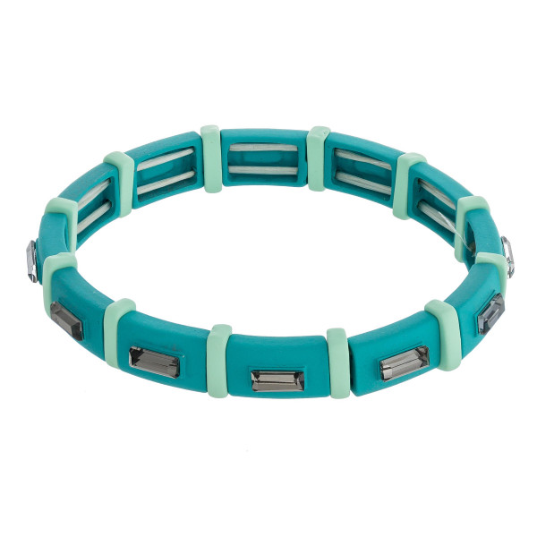 """Two tone rhinestone block stretch bracelet. Approximately 3"""" in diameter unstretched. Fits up to a 6"""" wrist."""
