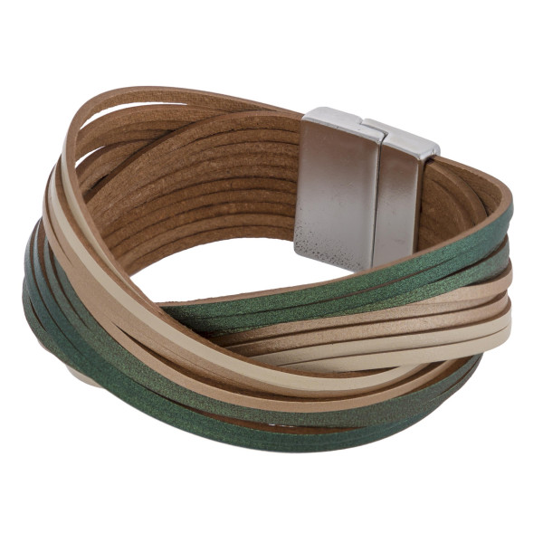 "Multicolor multi strand faux leather magnetic bracelet. Approximately 3"" in diameter. Fits up to a 6"" wrist."