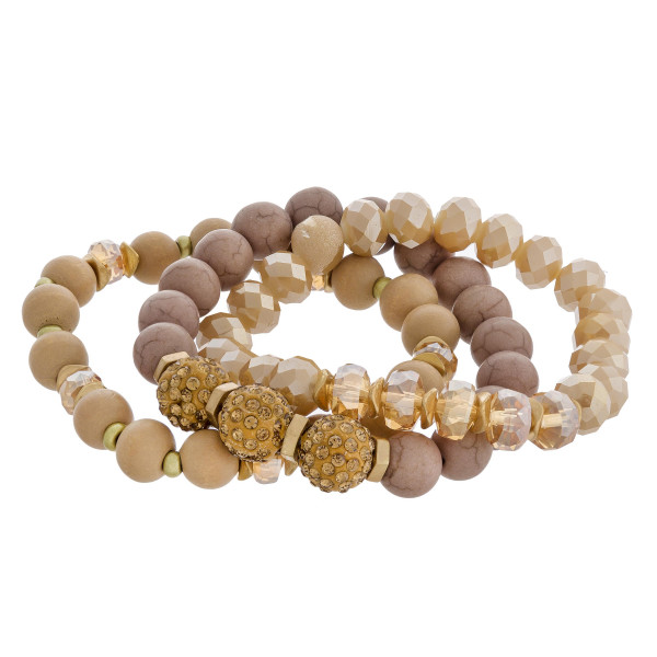 Wholesale natural stone wood beaded rhinestone stretch bracelet set diameter uns