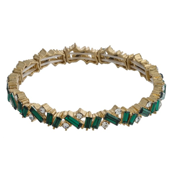 """Rhinestone encased stretch bracelet. Approximately 3"""" in diameter unstretched. Fits up to a 6"""" wrist."""