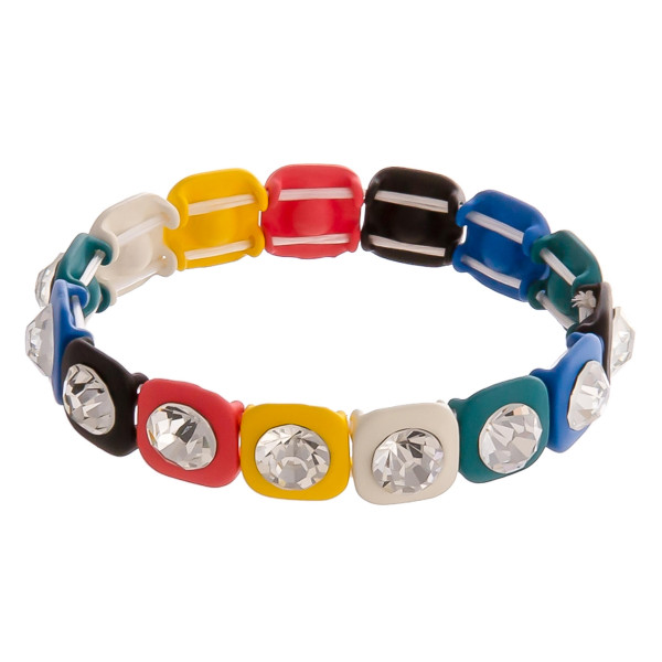 "Rhinestone color block stretch bracelet. Approximately 3"" in diameter. Fits up to a 6"" wrist."