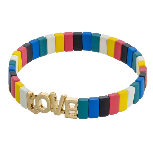 """Love"" color block stretch bracelet. Approximately 3"" in diameter unstretched. Fits up to a 6"" wrist."