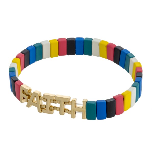 """Faith"" color block stretch bracelet. Approximately 3"" in diameter unstretched. Fits up to a 6"" wrist."