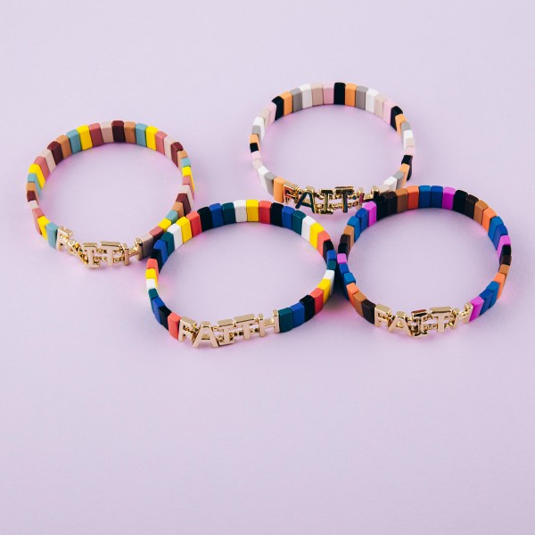 """""""Faith"""" color block stretch bracelet. Approximately 3"""" in diameter unstretched. Fits up to a 6"""" wrist."""